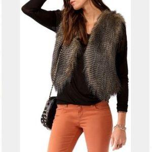 F21 faux fur vest cropped small